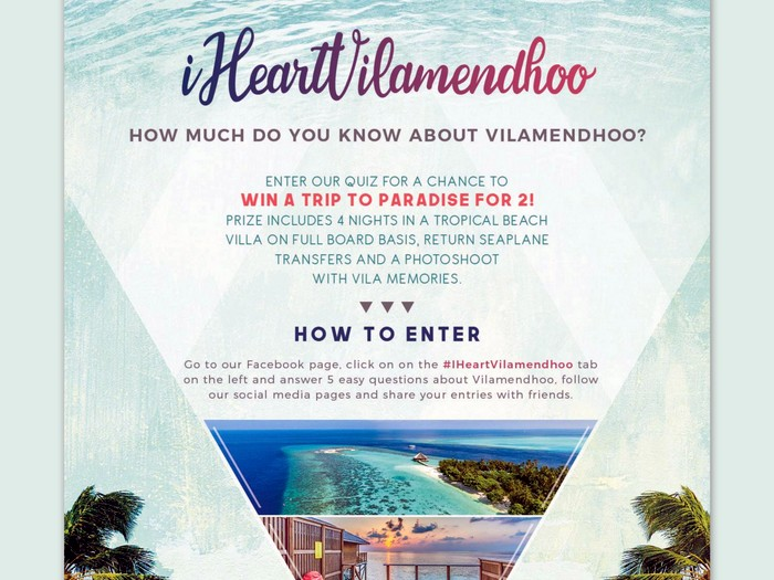 Win a trip to Maldives with #IHeartVilamendhoo competition